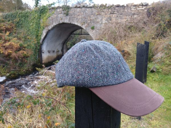 denim-pepper-donegal-tweed- baseball-leather-peek-hat