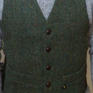 green-herringbone-tweed-waistcoat-glenriver-knitwear-donegal