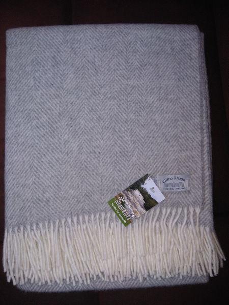 grey-mix-herringbone-merino-throw-glenriver-knitwear-donegal