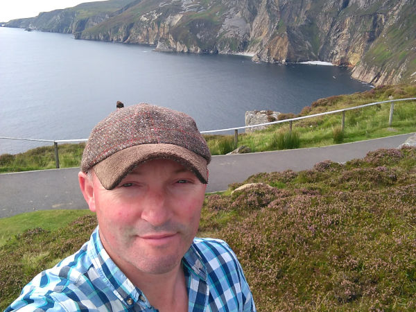 martin glenriver knitwear at slieve league cliffs donegal