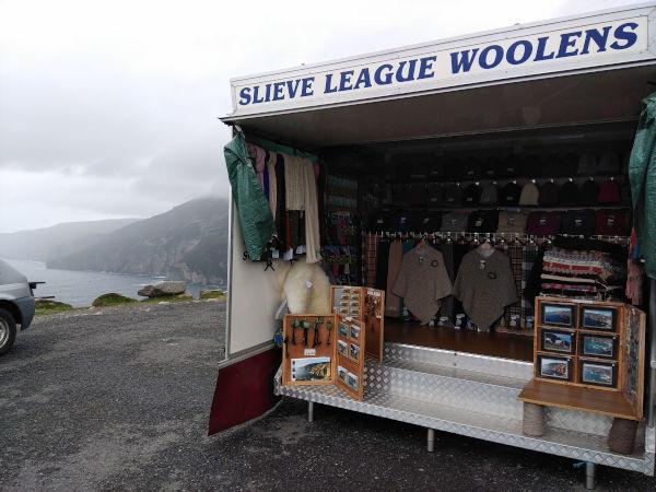 glen river selling woolen garments at slieve league cliffs